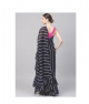 Black & White Striped Frill Saree